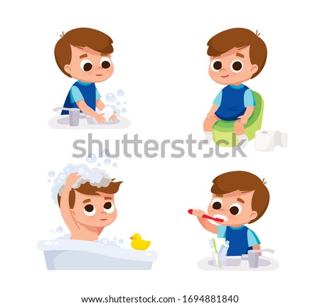 Boy washing hands. Boy washing head. Boy brushing teeth. Boy with potty.