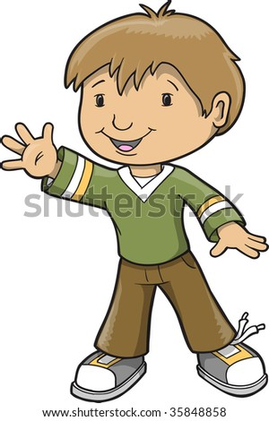 Boy waving vector illustration stock vector