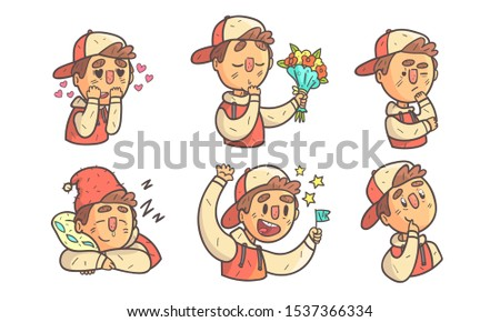 Boy Wearing Cap Showing Different Emotions Set, Male Cartoon Character with Various Face Expressions Vector Illustration