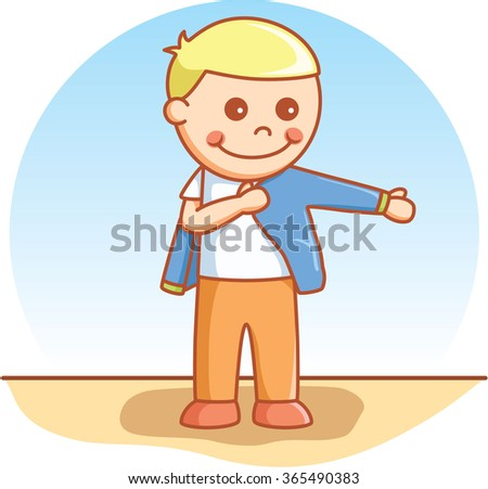 boy wearing cloth stock vector illustration 365490383