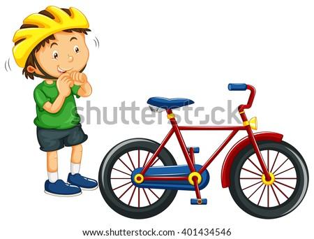 boy wearing helmet before
