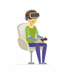 Boy wearing virtual reality glasses - cartoon people character isolated illustration on white background. An image of an amused teenager playing a game, holding a joy stick