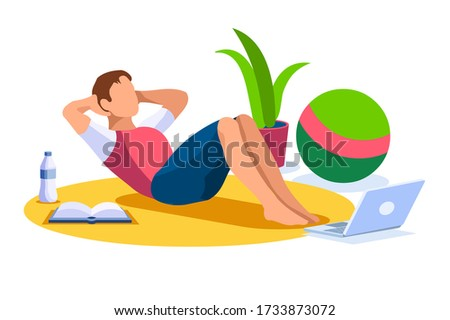 Boy wellness, sports at home by workout doing. Healthy workout for the body, home indoor sports for male wellness. Training male indoors for body, health concept. Cartoon style vector illustration