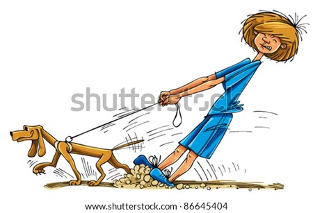 boy wit dog cartoon well  the