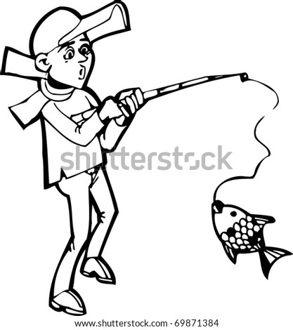 fishing rod cartoon. a fishing rod and fish.