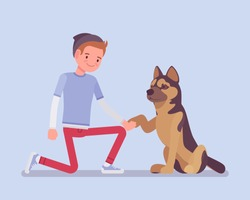 Boy with a pet dog friend. Happy guy teaching cute puppy giving a paw shaking hand, human and animal friendship for comfort and support, playful life companion. Vector flat style cartoon illustration