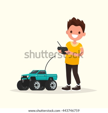Boy with a radio-controlled car. Vector illustration of a flat design Stock photo ©