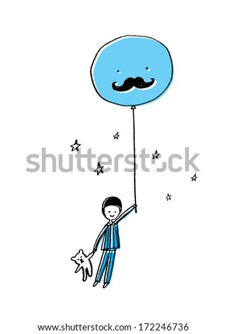 boy with balloon and teddy bear