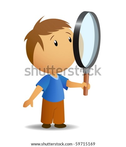 Boy with big magnifier