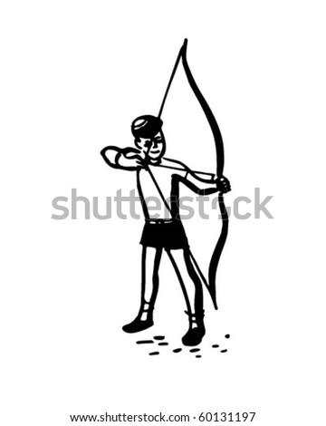 Boy With Bow And Arrow - Retro Clip Art - stock vector