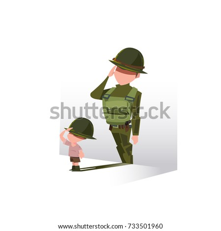 boy with his shadow as soldier