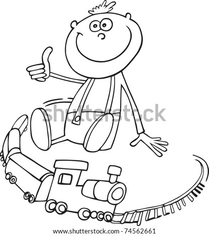 boy with toy train for coloring