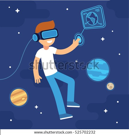boy with vr headset in space