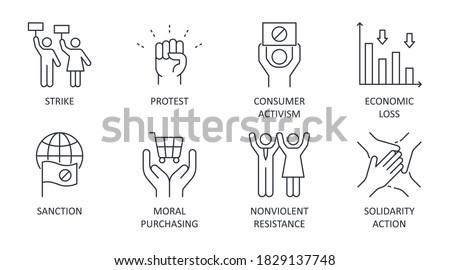 Boycott vector icons. Set of social confrontation symbols editable stroke. Strike protest sanction consumer activism. Economic loss moral purchasing nonviolent resistance solidarity action Foto stock ©
