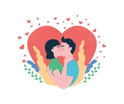 Boyfriend and girlfriend kiss flat concept vector illustration. Expressing affection. Hugging couple in love 2D cartoon characters for web design. Valentines day celebration creative idea