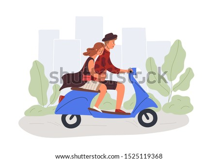 Boyfriend and girlfriend riding scooter flat vector illustration. Male and female cartoon characters on romantic date. Couple in love driving urban transport design element. Man and woman road trip.