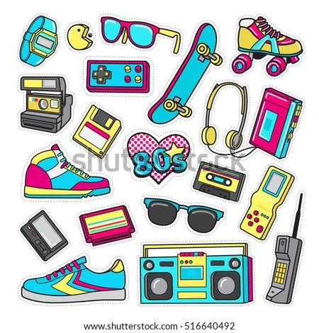 Boys accessories. Patch icons of shoes, sunglasses, headphones, joystick, cassette, cellular phone, player, flexible disc, polaroid, roller skates isolated on white. Teen's games of 80's. Vector
