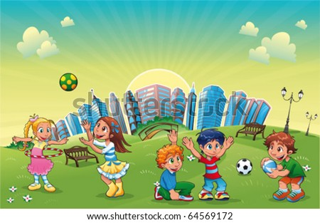 Boys and girls are playing in the park. Funny cartoon and vector scene.