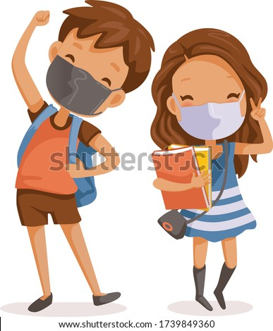 Boys and girls face maskfull body children are standing and smiling. Little boy wear face mask protect virus.  Protect dust PM 2.5. Social distancing concept.Vector cartoon characters and illustration