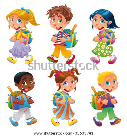 Boys and girls go to school. Funny cartoon and vector characters - stock vector