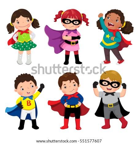 boys and girls in superhero...