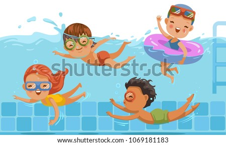 Boys and girls in swimwear are swimming in a children\'s pool. Underwater view and on water.kids are having fun. Vacation in summer vacation Share with friends. Sports and swimming in childhood water.