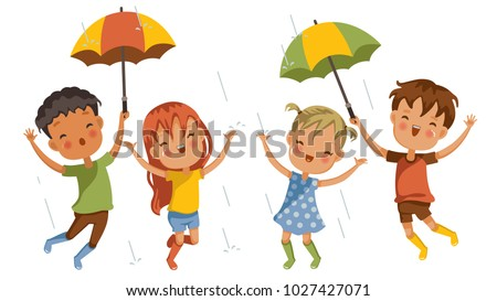 Boys and girls In the middle of rain showers, pleasant emotions together, welcoming the first rain of the rainy season, concept of fun moments in childhood, strong learning and growing of children.