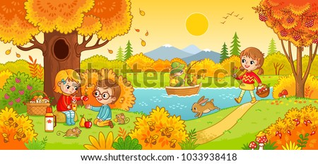 Boys and girls on a picnic. Children in the woods and fishing. Vector illustration in children`s style.