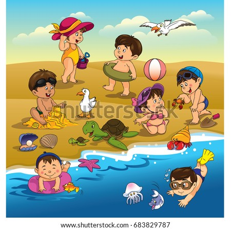 Boys and girls playing on the beach with blue water and sky with clouds and birds and crabs and fish and shellfish.