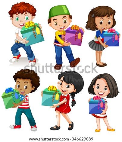 Boys and girls with present boxes illustration
