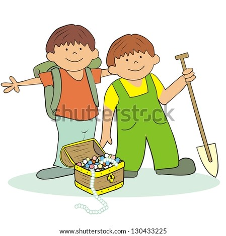 boys and treasure  vector icon