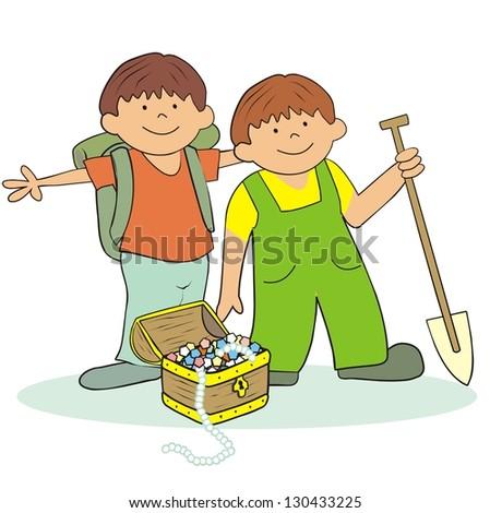 boys and treasure  vector icon