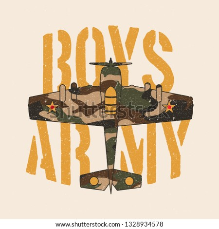 Boys Army Camouflage Vintage War Airplane Military Slogan. Military Typography Slogan College With Army Badge, Patch Soldier T-shirt and apparels print graphic vector Varsity typography Urban Camo.