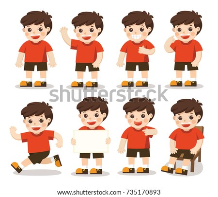 Boys character set  in different poses. A character for your project. Vector illustration