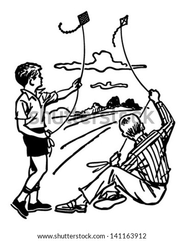 Boys Flying Kites - Retro Clip Art Illustration