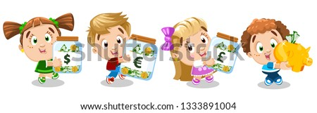 Boys, girls carry money jars with euro, pound, dollar and piggy bank. Concept of commercial education, financial literacy, multiple countries currency. Children study putting money away, do shopping.
