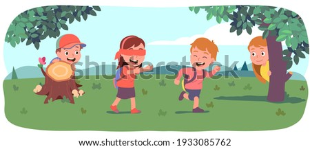 Boys, girls kids playing hide and seek on beautiful summer lawn. Blindfolded girl seeking friends hiding behind bushes, trees. Happy children enjoying outdoor game activity. Flat vector illustration Stock photo ©