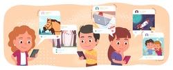 Boys, girls kids using mobile cell phones surfing, posting, commenting on social network. Children persons communicate online on smartphones. Internet communication concept flat vector illustration