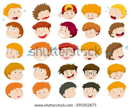boys head with different