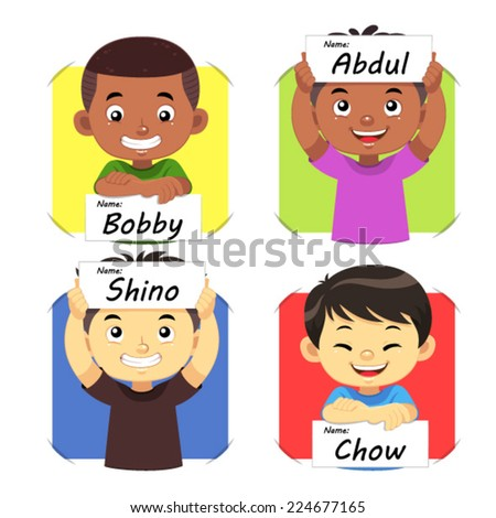 royalty free four cute cartoon girls holding signs 368514434 stock