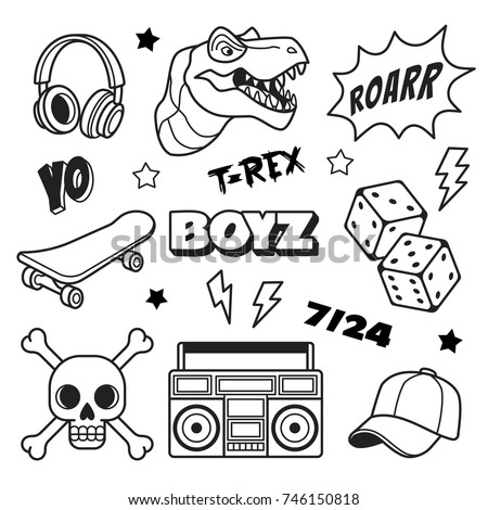 boys patches collection vector