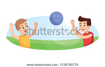 Boys playing ball flat vector illustration. Outdoor game. Sport section for children. Kids active leisure. Extracurricular activities. Young sportsmans physical education lesson cartoon characters