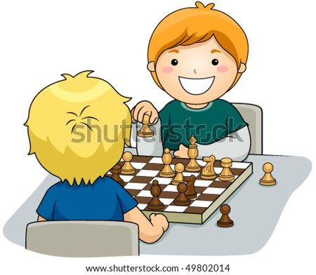Boys playing Chess - Vector