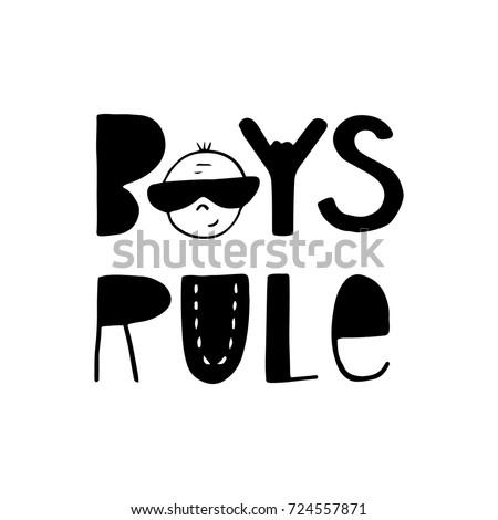 boys rule   fun hand drawn