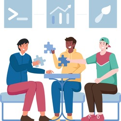 Boys sitting on chairs in circle and talking to each other. Group therapy, psychotherapeutic meeting or psychological aid for women. Colorful vector illustration in modern flat style.