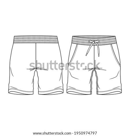 Boys Sweat Shorts Bermuda fashion flat sketch template. Young Men Technical Fashion Illustration. Сток-фото ©