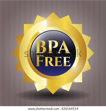 BPA Free golden badge or emblem