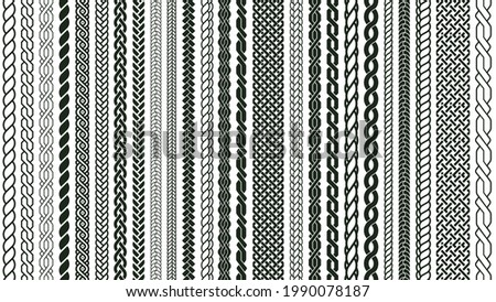 Braid seamless borders. Braided nautical plaits, knotted braids ornaments isolated vector symbols set. Braids weaving elements pattern, braided and twisted decorative illustration Stock foto ©