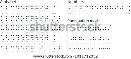 Braille alphabet, abc with letters, punctuation and numbers. Realistic Dots. Abc for vision disable blind people. Braille letter as dot. Table for alphabet education, learning. Vector illustration