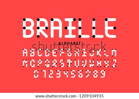 Braille alphabet letters and numbers, vector illustration